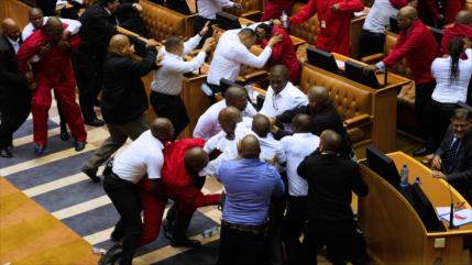 VIDEO: Espectacular pelea en el Parlamento de Sudáfrica entre opositores y guardias