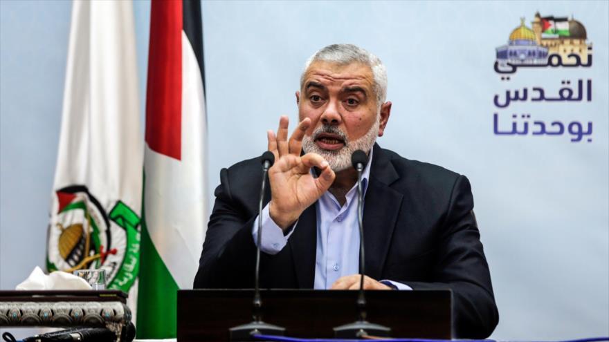 El jefe de la dirección política del Movimiento de Resistencia Islámica Palestina (HAMAS), Ismail Haniya, habla en una rueda de prensa en Gaza, 23 de enero de 2018.
