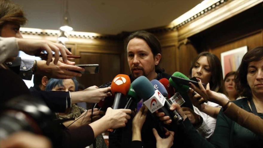 El secretario general del partido español Podemos, Pablo Iglesias, habla en una rueda de prensa en el Congreso de los Diputados, 23 de enero de 2018.
