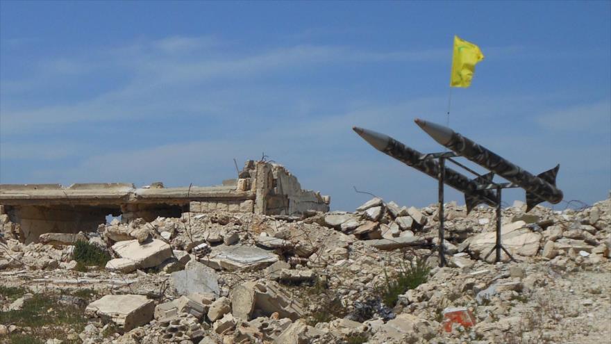 Cohetes de Hezbolá desplegados en el sur de El Líbano.