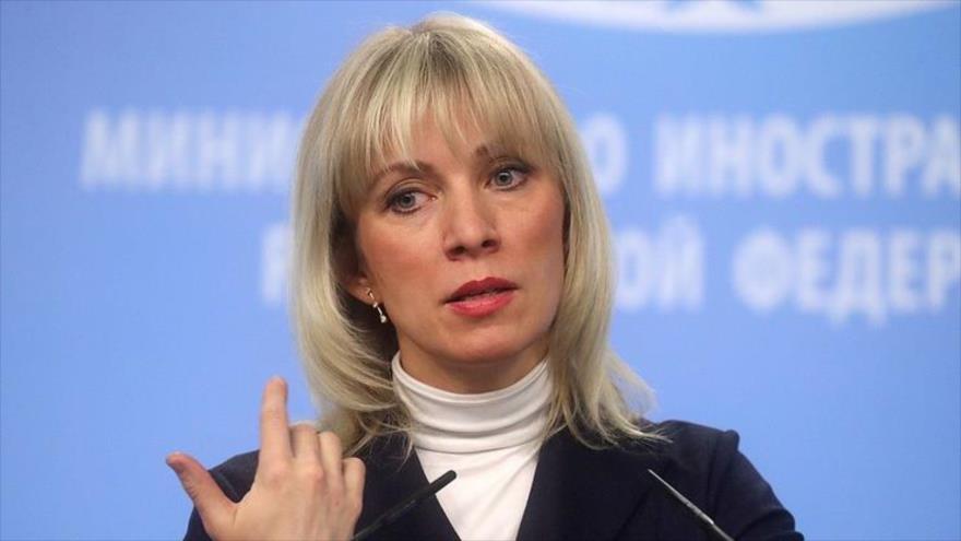 María Zajarova, portavoz de la Cancillería rusa.