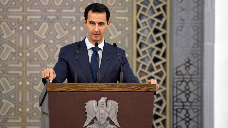 El presidente de Siria, Bashar al-Asad, ofrece un discurso en Damasco, la capital, 20 de agosto de 2017.