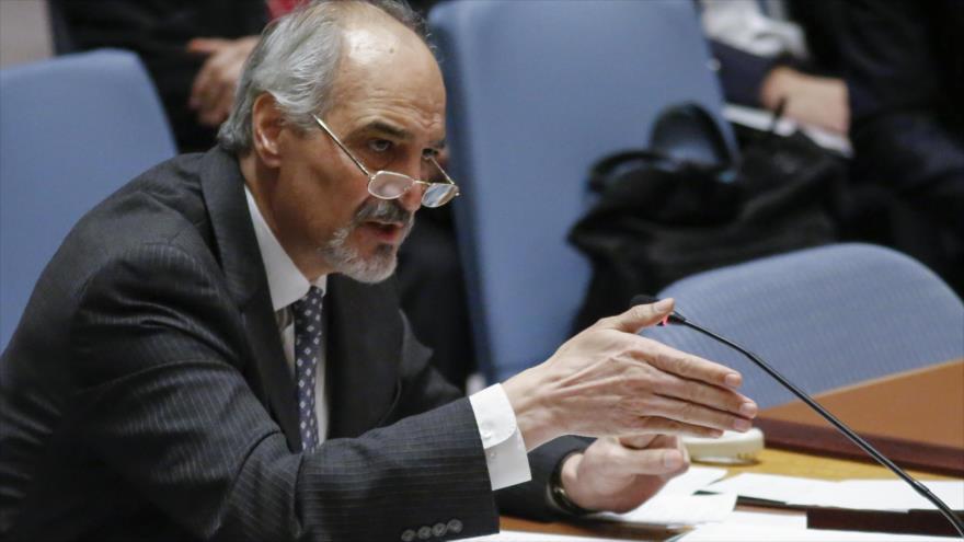 El representante permanente de Siria ante la Organización de las Naciones Unidas (ONU), Bashar al-Yafari, 12 de abril de 2017.