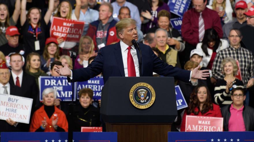 El presidente de EE.UU., Donald Trump, en un mitin en Moon Township, en Pensilvania (noreste), 10 de marzo de 2018.