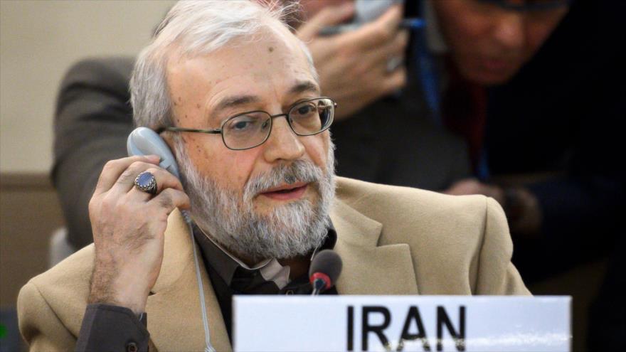 El secretario general del Comité de los Derechos Humanos del Poder Judicial de Irán, Mohamad Yavad Lariyani, en Ginebra, 12 de marzo de 2018.