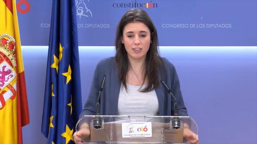 Irene Montero, portavoz de Podemos en el Congreso de los Diputados, comparece ante la prensa, 13 de marzo de 2018.