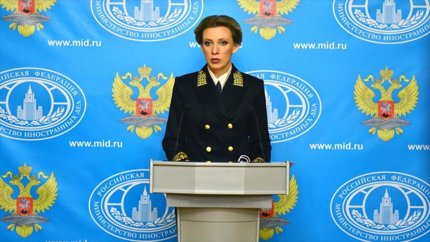 La portavoz de la Cancillería de Rusia, María Zajarova, en una rueda de prensa.