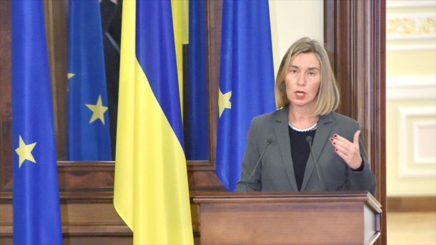 La alta representante de la Unión Europea (UE) para la Política Exterior, Federica Mogherini, en declaraciones desde Kiev, Ucrania, 12 de marzo de 2018.
