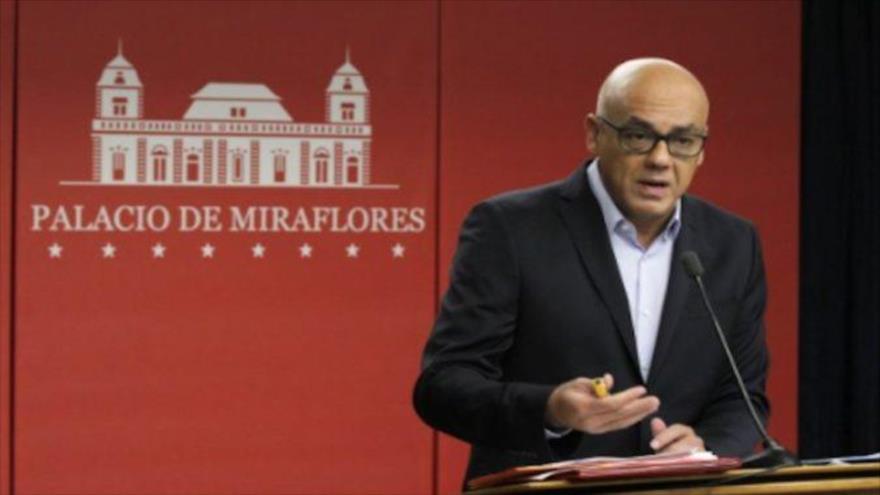 El ministro de Comunicación e Información de Venezuela, Jorge Rodríguez, Palacio de Miraflores, Caracas, 13 de marzo de 2018.