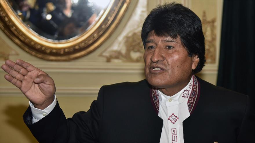 El presidente boliviano, Evo Morales, ofrece una rueda de prensa en el Palacio Quemado, sede presidencial situada en La Paz, 13 de marzo de 2018.
