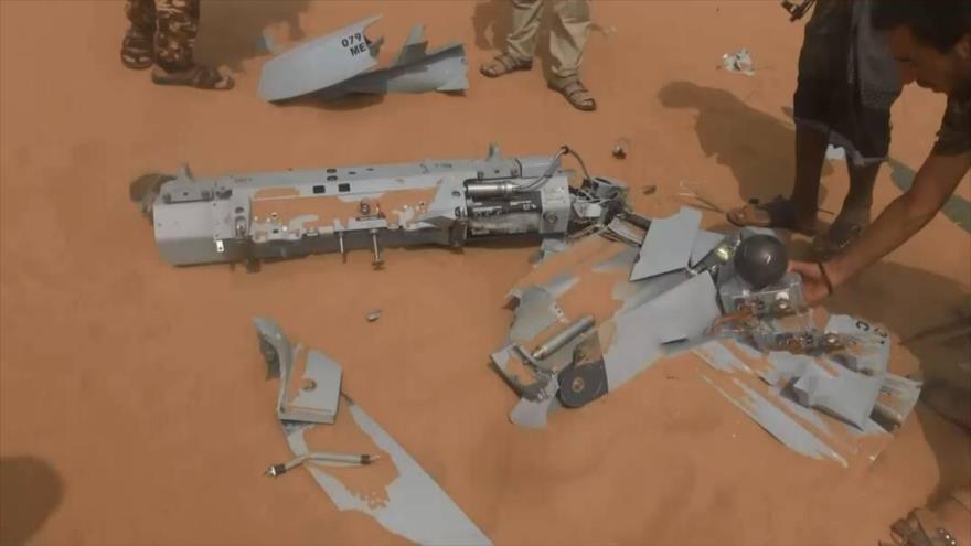 Un dron saudí derribado por fuerzas yemeníes, 14 de marzo de 2018.
