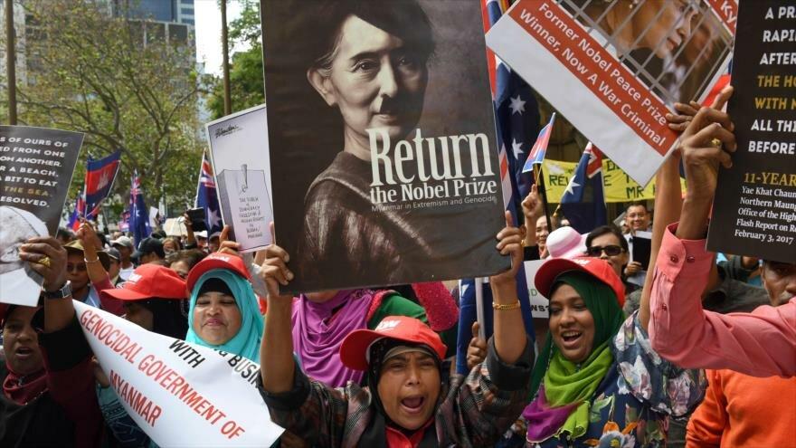 Protesta en Australia contra líder birmana por genocidio rohingya