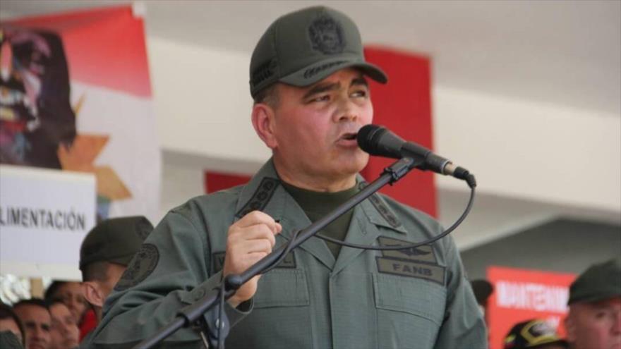 El ministro de Defensa de Venezuela, Vladimir Padrino López, habla durante un acto oficial en Caracas, la capital, 19 de marzo de 2018.