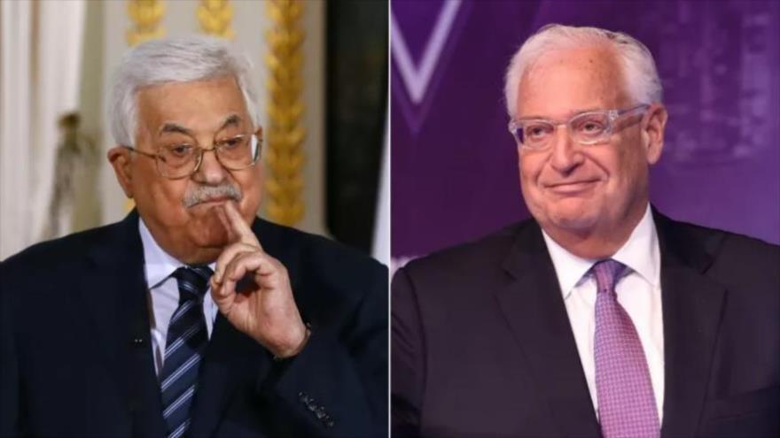 El presidente de Palestina, Mahmud Abás, y el embajador de Estados Unidos ante el régimen de Israel, David Friedman.