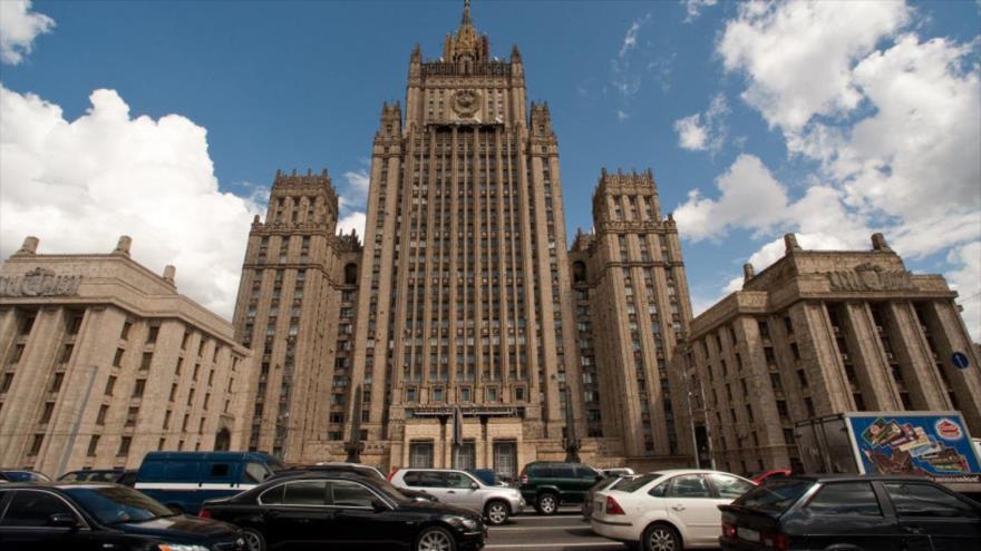 El edificio de Ministerio de Asuntos Exteriores de Rusia en Moscú, la capital.
