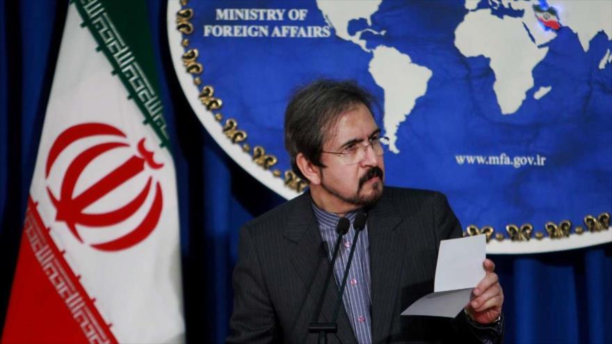 El portavoz del Ministerio iraní de Asuntos Exteriores, Bahram Qasemi, durante una conferencia de prensa en Teherán, 14 de marzo de 2018.