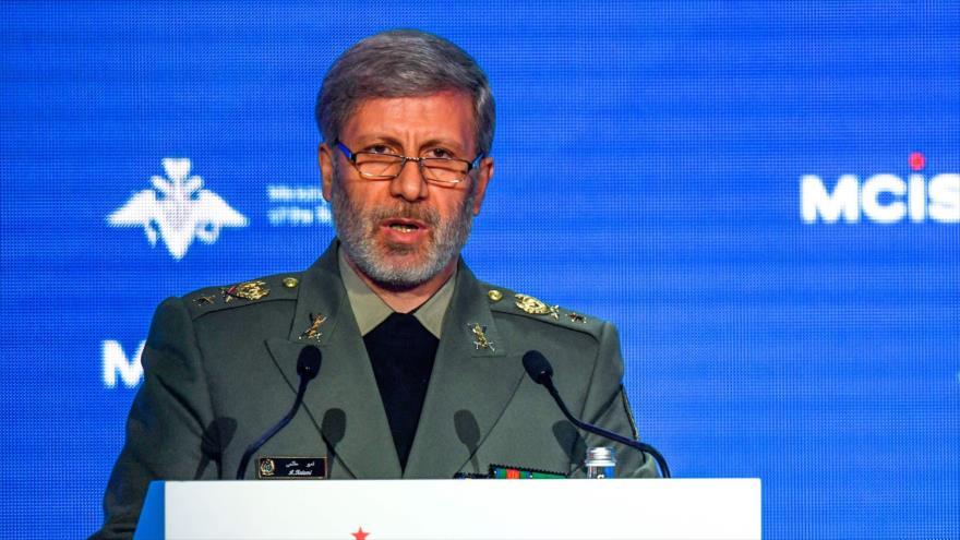 El ministro de Defensa de Irán, Amir Hatami, habla en la VII Conferencia de Seguridad Internacional de Moscú, capital rusa, 4 de abril de 2018.