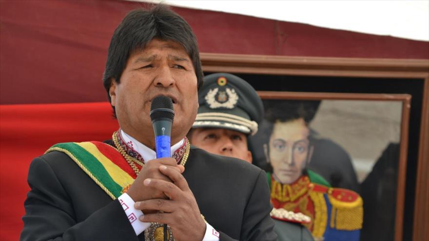 El presidente boliviano, Evo Morales en un acto público en Chuquisaca, situado en el centro sur de Bolivia, 3 de abril de 2018.