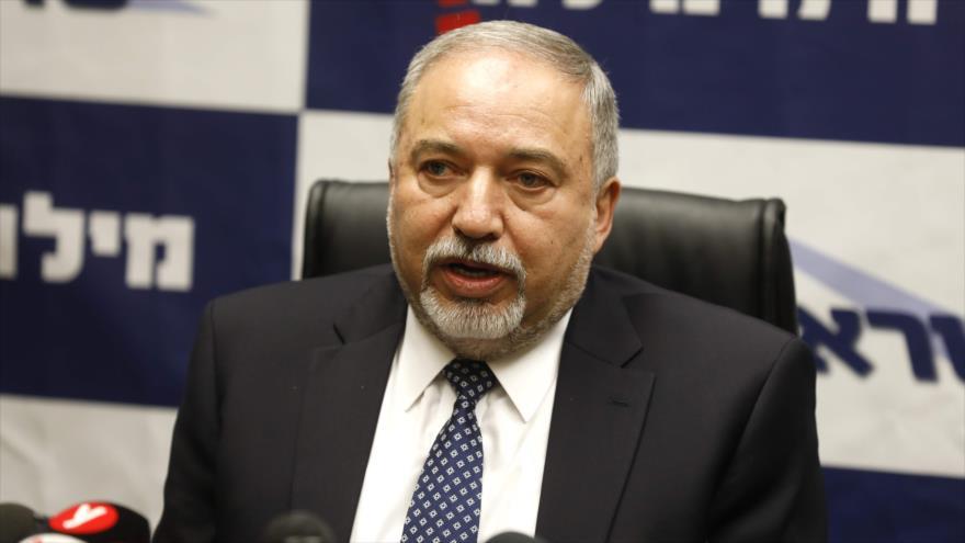 El ministro de asuntos militares de Israel, Avigdor Lieberman, en una reunión en Al-Quds (Jerusalén), 12 de marzo de 2018.