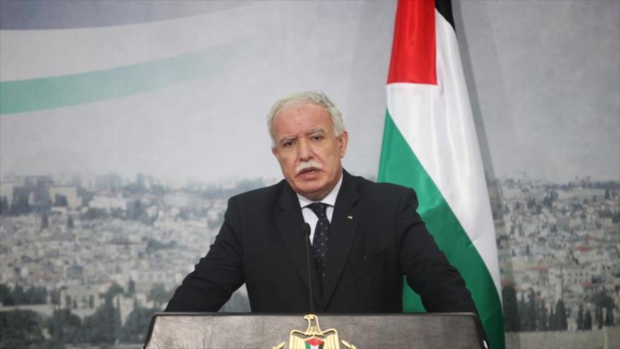 El canciller de la Autoridad Nacional Palestina, Riad al-Maliki,.