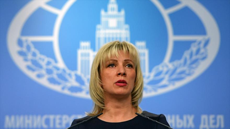 La portavoz del Ministerio ruso de Exteriores, María Zajárova, en una rueda de prensa en Moscú, 29 de marzo de 2018.