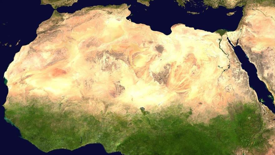 Imagen satelital del desierto del Sáhara.