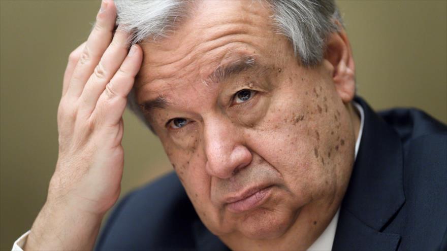 El secretario general de la Organización de las Naciones Unidas (ONU), António Guterres, durante una reunión en Ginebra, 3 de abril de 2018.