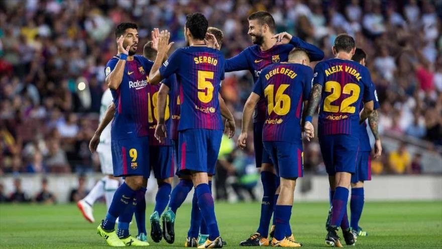 Los jugadores del equipo FC Barcelona en el partido con el Leganés, 7 de abril de 2018.