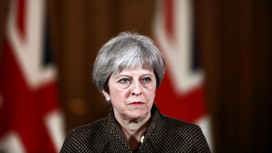 La primera ministra británica, Theresa May, ofrece una rueda de prensa en Londres (capital), 14 de abril de 2018.