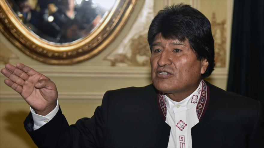 El presidente de Bolivia, Evo Morales, ofrece una rueda de prensa en el Palacio Quemado, 13 de marzo de 2018.