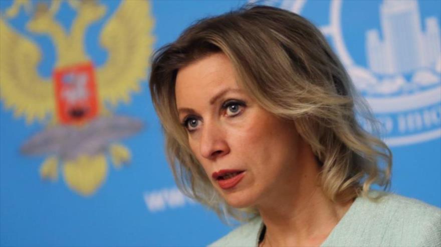 La portavoz del Ministerio de Exteriores de Rusia, María Zajarova, en una rueda de prensa en Moscú, la capital.