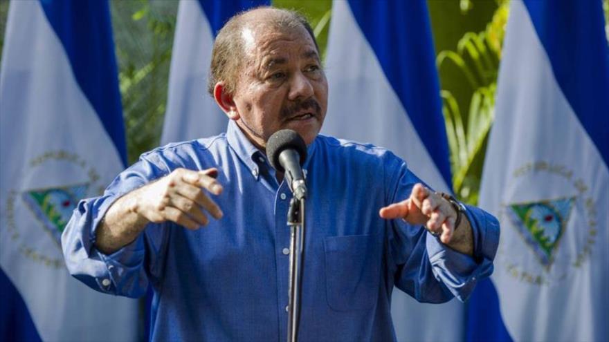 El presidente de Nicaragua, Daniel Ortega, pronuncia un discurso en Managua, 5 de noviembre de 2017.