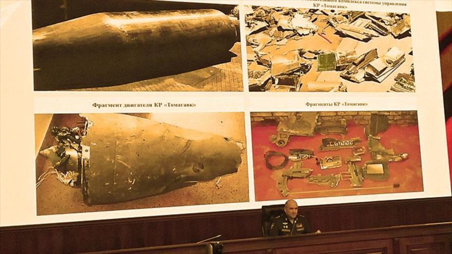Rusia presenta fragmentos de misiles de EEUU derribados en Siria