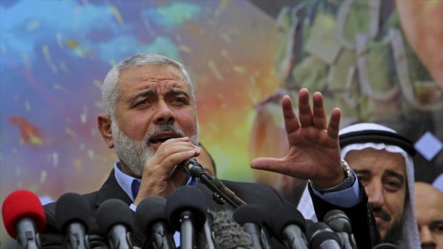 El jefe de la dirección política del Movimiento de Resistencia Islámica Palestina (HAMAS), Ismail Haniya, da un discurso en la Franja de Gaza.