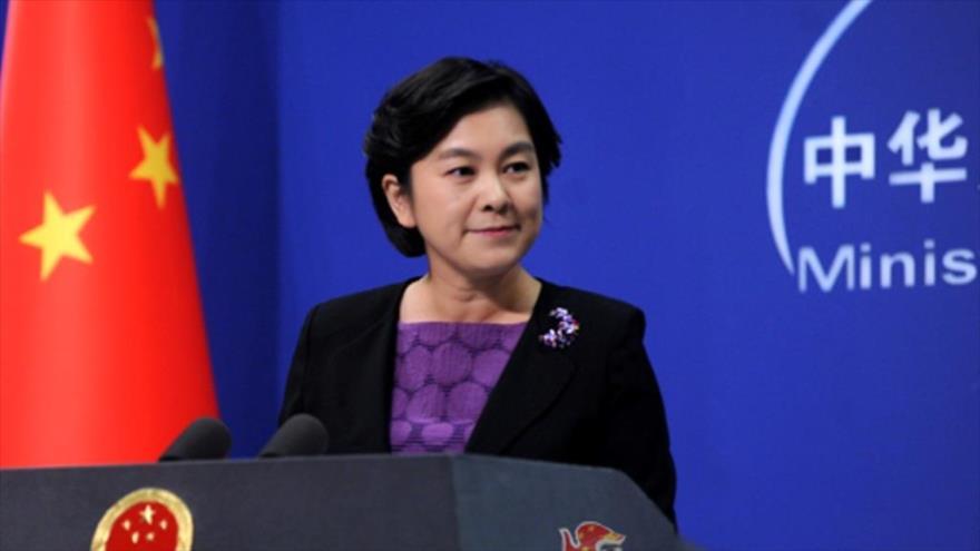 La portavoz de la Cancillería china, Hua Chunying, en una rueda de prensa en la sede del organismo.