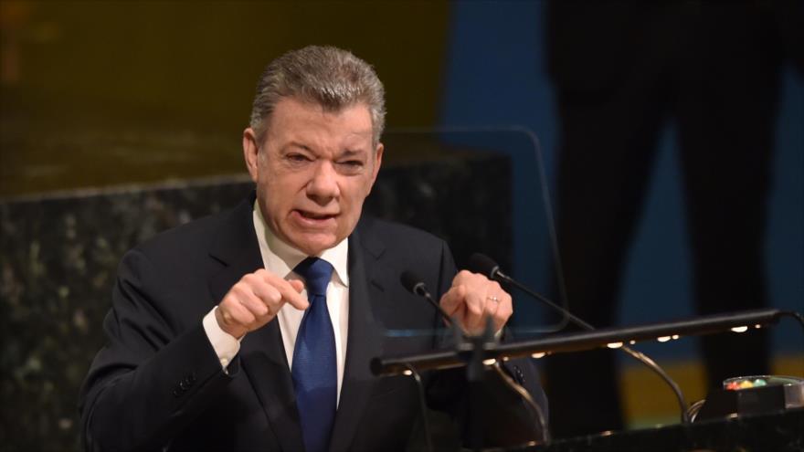 Juan Manuel Santos, presidente de Colombia, habla en la 72ª sesión de la Asamblea General de las Naciones Unidas en Nueva York, 24 de abril de 2018.