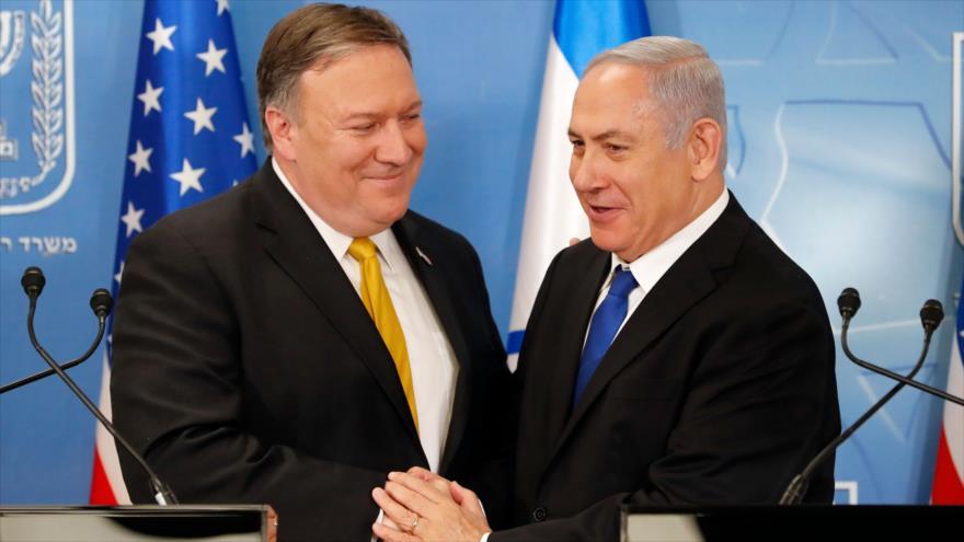 El nuevo secretario de Estado de EE.UU., Mike Pompeo, y el premier israelí, Benyamin Netanyahu, en la Palestina ocupada, 29 de abril de 2018.