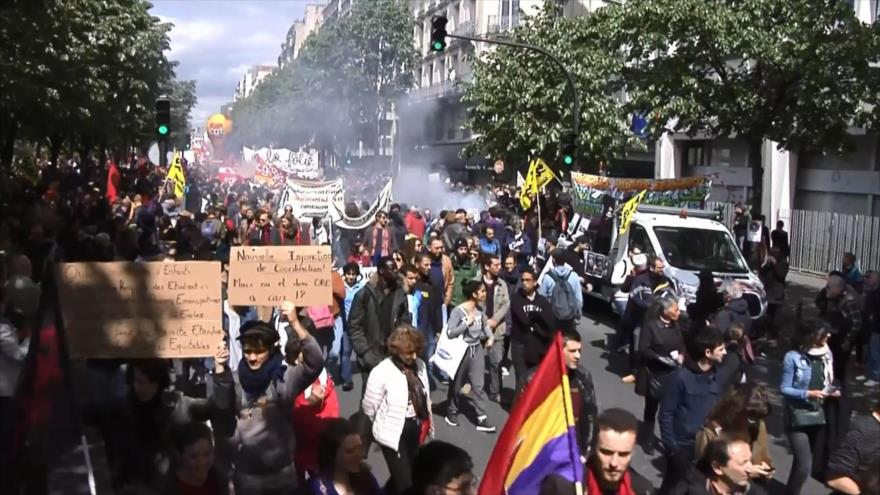 Movilización del 1 de mayo en Francia contra política del gobierno