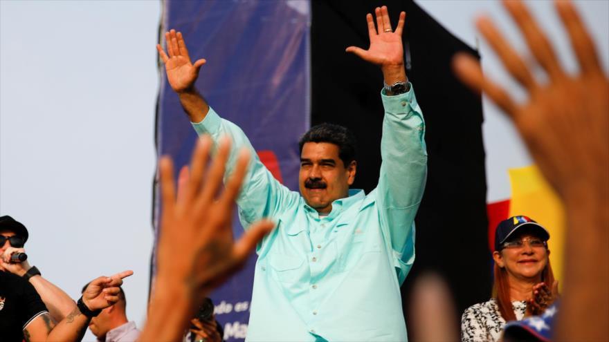 El presidente de Venezuela, Nicolás Maduro, da un discurso en su campaña electoral en La Guaira (Capital de Vargas), 2 de mayo de 2018.