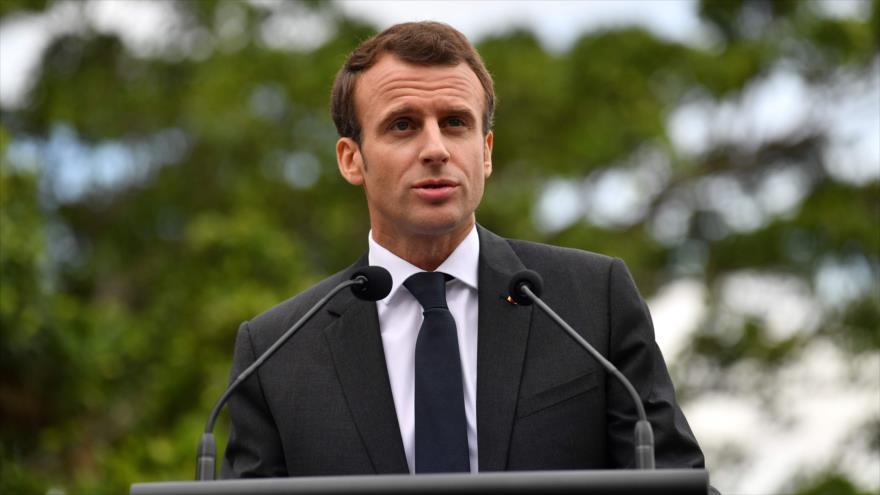 El presidente de Francia, Emmanuel Macron, en una rueda de prensa en Sídney, 2 de mayo de 2018.
