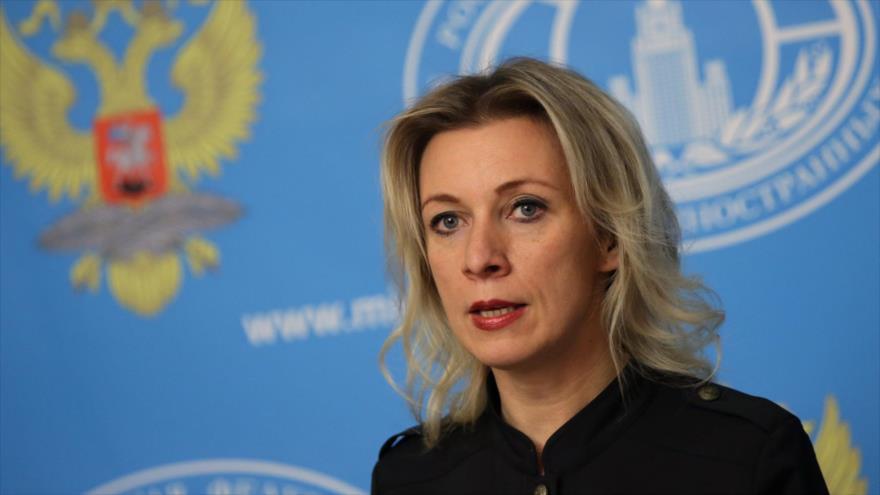 María Zajarova, portavoz de la Cancillería de Rusia.