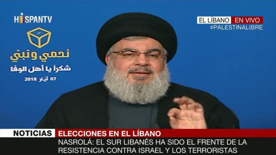 El secretario general del Movimiento de Resistencia Islámica de El Líbano (Hezbolá), Seyed Hasan Nasrolá, ofrece un discurso, 7 de mayo de 2018.