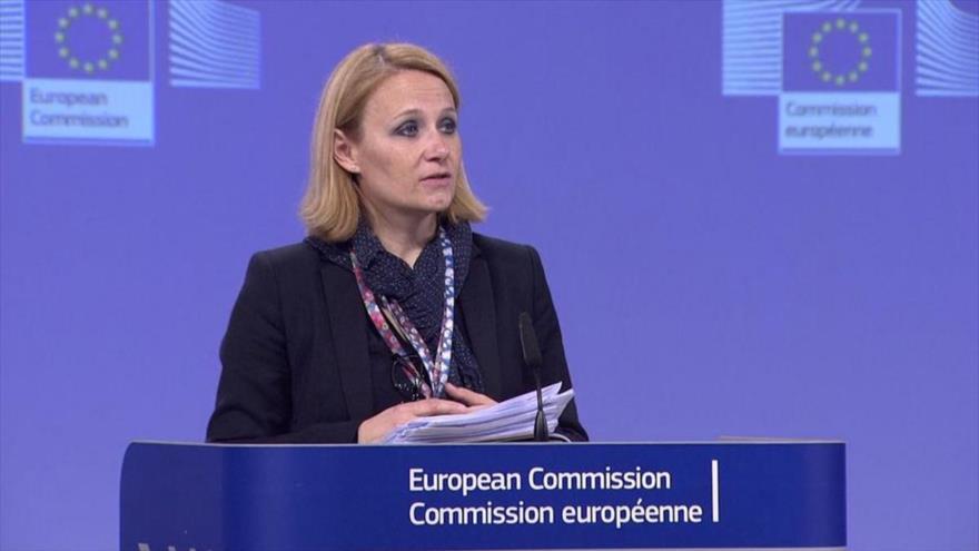 La portavoz de la Unión Europea (UE) para Asuntos Exteriores, Maja Kocijancic, habla en un acto oficial.
