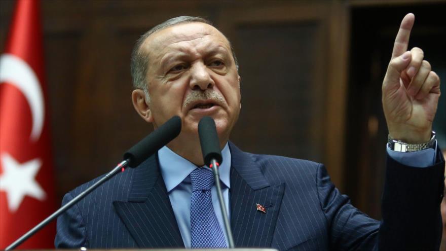 El presidente de Turquía, Recep Tayyip Erdogan, durante un discurso celebrado en Ankara, 8 de mayo de 2018.