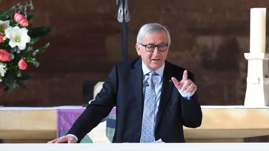 El presidente de la Comisión Europea (CE), Jean-Claude Juncker, ofrece un discurso en el suroeste de Alemania, 4 de mayo de 2018.