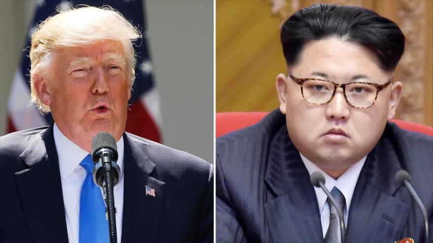 El presidente de Estados Unidos, Donald Trump (izda.), y el líder de Corea del Norte, Kim Jong-un.