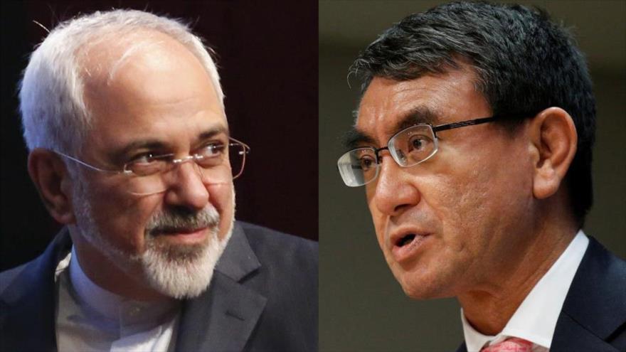 El canciller iraní, Mohamad Yavad Zarif (izda.), y su homólogo japonés, Taro Kono.