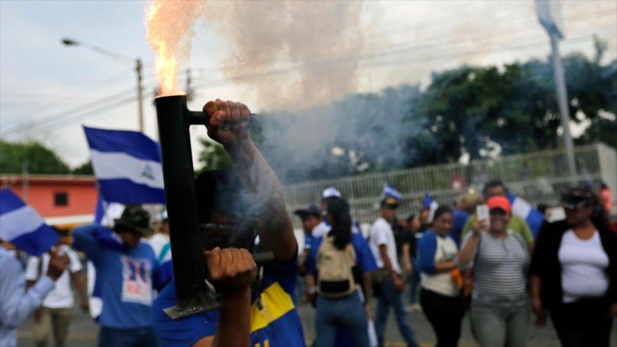 Manifestantes antigubernamentales en Managua, la capital de Nicaragua, 9 de mayo de 2018.