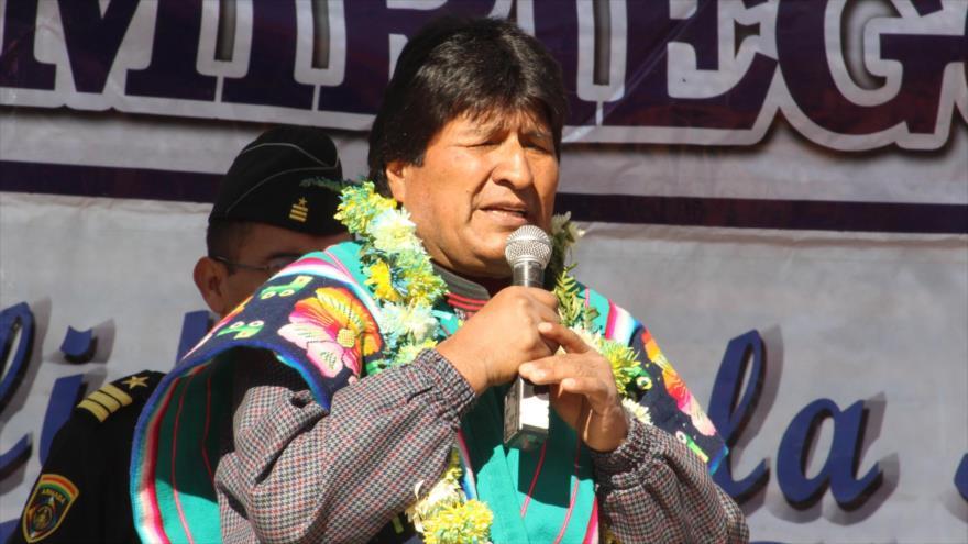 El presidente boliviano, Evo Morales, durante una intervención en el pueblo de Sabaya, departamento de Oruro, oeste de Bolivia, 12 de mayo de 2018.