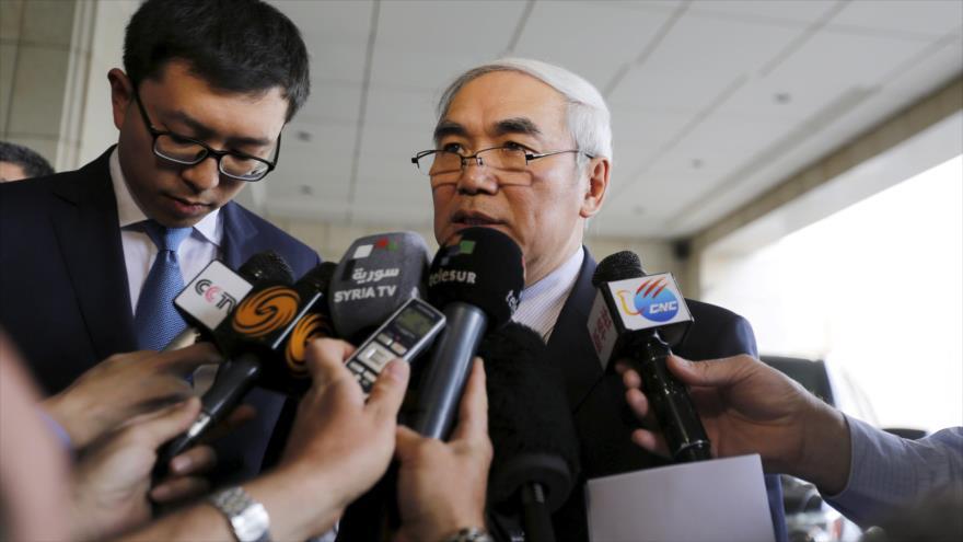 El enviado especial chino para Siria, Xie Xiaoyuanm, habla ante periodistas en el país árabe.